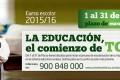 Abierto el plazo de escolarización para el curso 2015/16